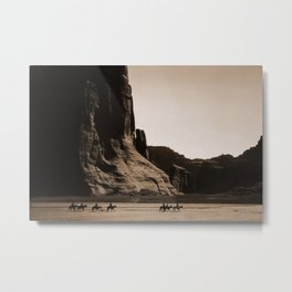 Canyon de Chelly - Chinle, Arizona – Navajo Indians on Horseback by Edward Curtis Metal Print