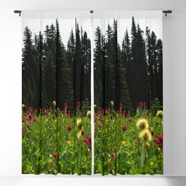 Mount Rainier Wildflower Adventure III - Pacific Northwest Mountain Forest Wanderlust Blackout Curtain