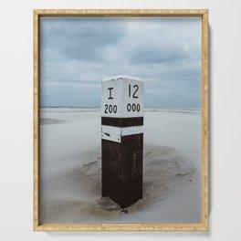 Beach pole 12 - Ameland North Beach photo print | peaceful landscape travel photography art print Serving Tray
