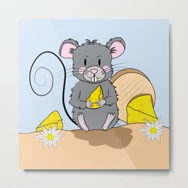 Cartoon Mouse with Cheese Metal Print