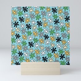 Hippie pattern -Blue Mini Art Print