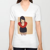crowley V-neck T-shirts featuring Good Omens: Female Crowley by Abbi Laura