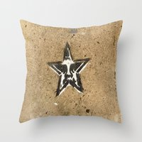 obey Throw Pillows featuring OBEY by Hazel Bellhop