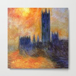 House of Parliament, London, Sun Breaking Through the Fog by Claude Monet Metal Print