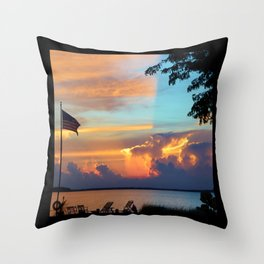 Sunset with Flag Throw Pillow