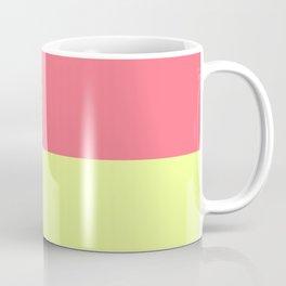 Modern neon lime yellow blush pink coral colorblock Coffee Mug