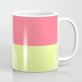 Modern neon lime yellow blush pink coral colorblock Coffee Mug