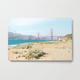 Golden Gate Bridge Beach Metal Print