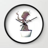 groot Wall Clocks featuring Dancing Groot by Charleighkat