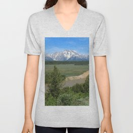 Snake River And Grand Teton Range Unisex V-Neck