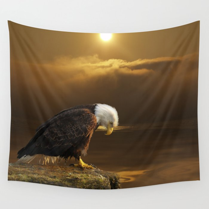 Gratitude - Bald Eagle At Prayer Wall Tapestry by skyeryanevans