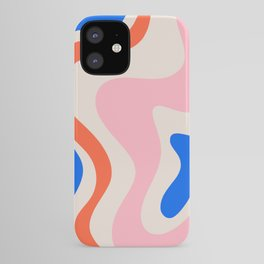 Retro Liquid Swirl Abstract Pattern Square Pink, Orange, and Royal Blue iPhone Case