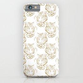Elegant Gold Glitter Tiger Print White Design iPhone Case