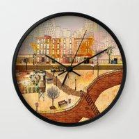 brooklyn Wall Clocks featuring Brooklyn by Gobblynne