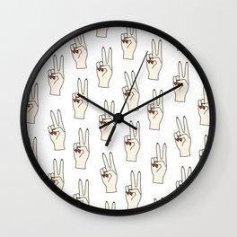 Hands, Pop art, Funny, Minimal, Scandinavian, Pattern, Modern art Wall Clock