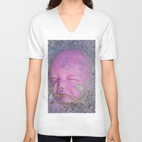 no face V-neck T-shirts featuring Face by Victoria Herrera
