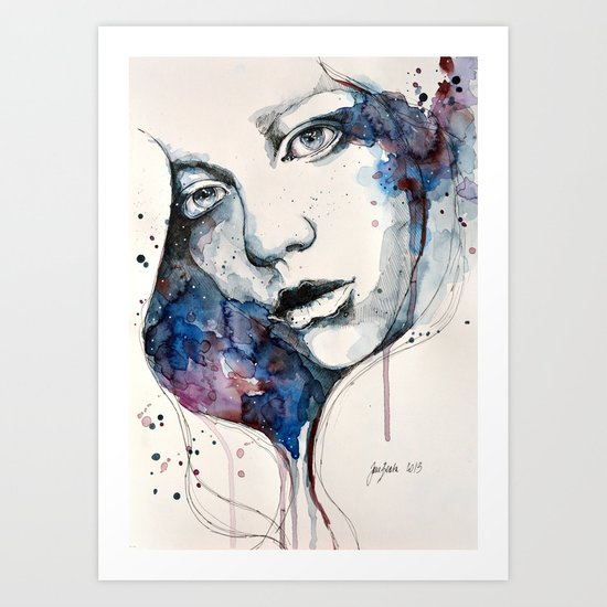 Window, watercolor & ink painting Art Print