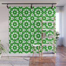 Kelly-Green Classic Tile Pattern Wall Mural