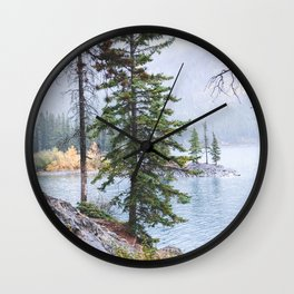 348. Forest and lake view, Banff, Canada Wall Clock