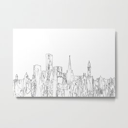 Birmingham, UK Skyline B&W - Thin Line Metal Print