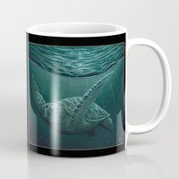 "biology Mugs featuring ""Eclipse"" - Green Sea Turtle, Acrylic by Amber Marine"