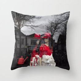 City girls with red hats Throw Pillow