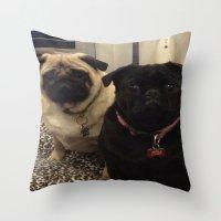 pugs Throw Pillows featuring Pugs by JordynC