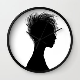 Profile silhouette of a punk girl Wall Clock