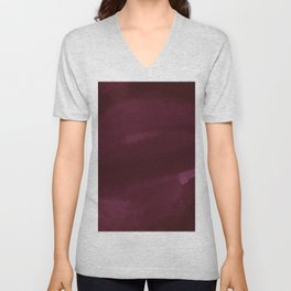 Abstract modern dark burgundy watercolor Unisex V-Neck