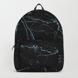 Modern abstract black teal elegant glitter marble Backpack