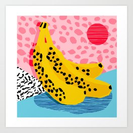What It Is - memphis throwback banana fruit retro minimal pattern neon bright 1980s 80s style art Art Print
