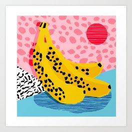 What It Is - memphis throwback banana fruit retro minimal pattern neon bright 1980s 80s style art Art Print