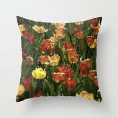A sea of spring tulips Throw Pillow