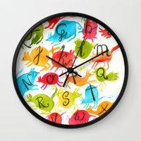 alphabet Wall Clocks featuring Alphabet by zuzia turek