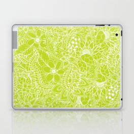 Modern white hand drawn floral lace illustration on lime green punch Laptop & iPad Skin