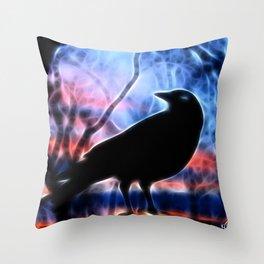 Good Morning Raven Magic Throw Pillow