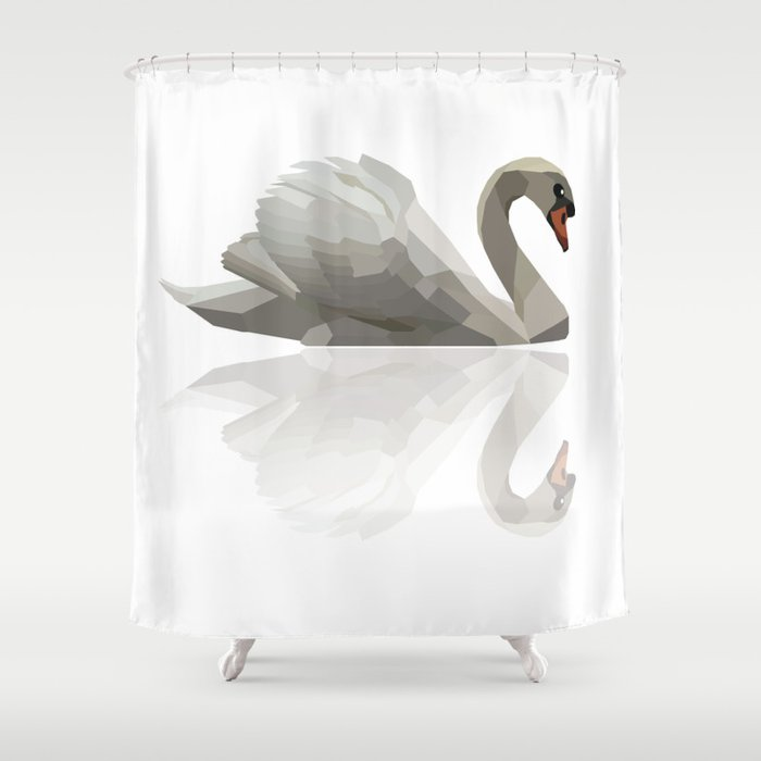 Geometric Swan Shower Curtain By Geometricanimals