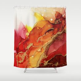 Golden Flame Abstract Ink - Part 1 Shower Curtain