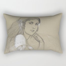 Alphonse Mucha - Portrait of Jaroslava Muchová (Daughter) Rectangular Pillow