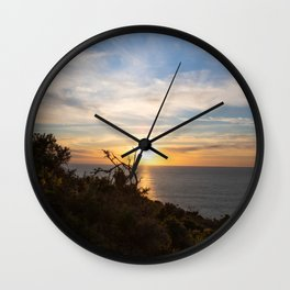 trees with beautiful sunset over the sea Wall Clock
