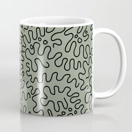 Abstract squiggly lines on green Coffee Mug