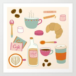 Drawing Coffee in a Café Art Print