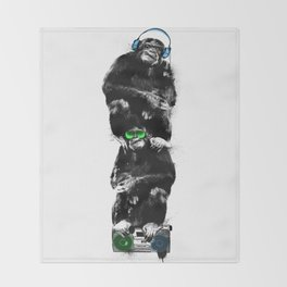 Monkey Music Retro Boombox. Throw Blanket