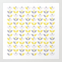 Yellow and Grey Abstract Flower Pattern #society6 #decor #buyart #artprint Art Print