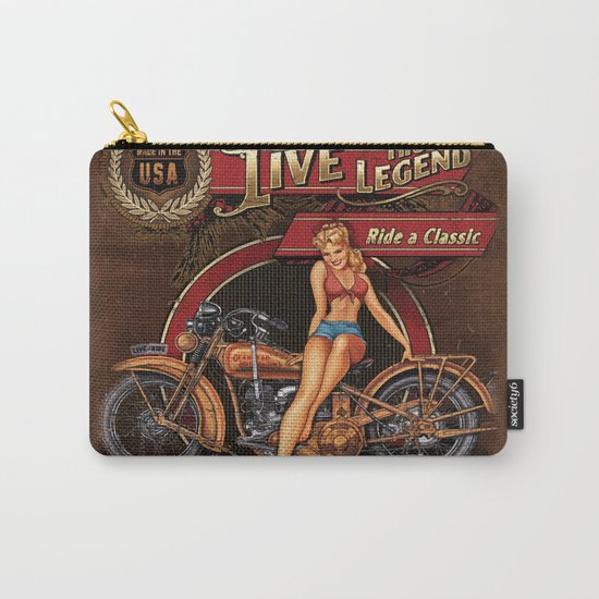 Live the Legend - Motorcycle Vintage Tin Sign Carry-All Pouch