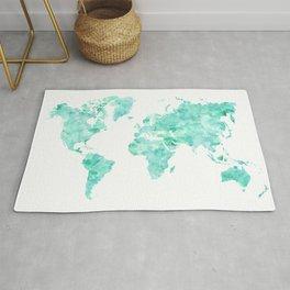 Teal aquamarine watercolor world map Rug