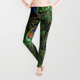 Beautiful photograph of peacock feathers Leggings