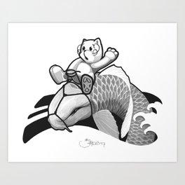 Black and Grey Japanese Rodeo Art Print