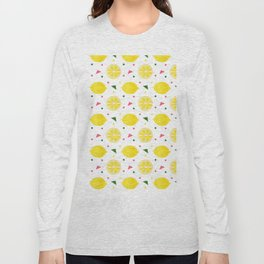 Sunshine yellow watercolor tropical lemon triangles dots pattern Long Sleeve T-shirt