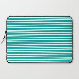 Turquoise and white thin horizontal stripes Laptop Sleeve